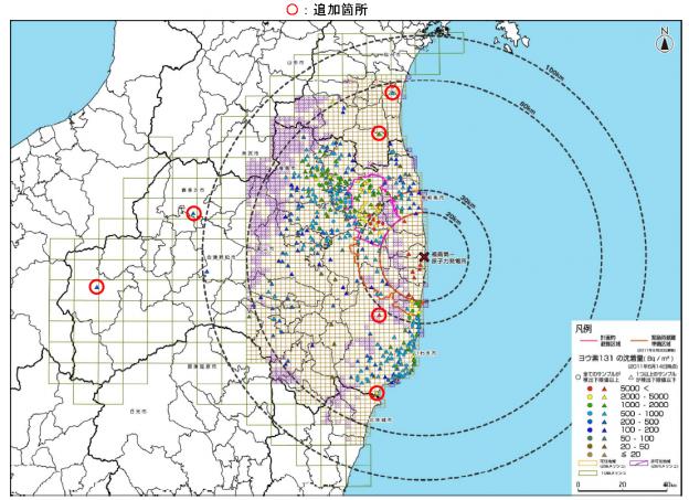放射性ヨウ素131汚染地図(2013年7月1日)