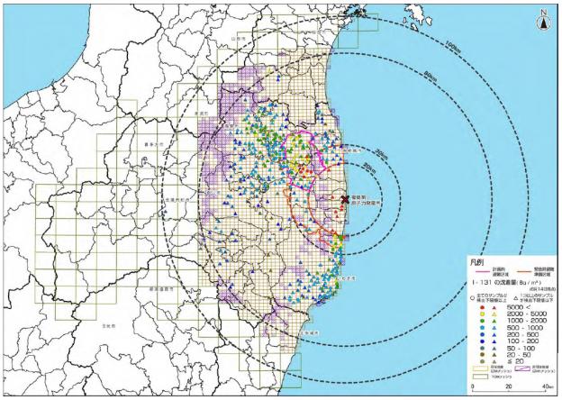 放射性ヨウ素131土壌汚染マップ(2011年9月21日)
