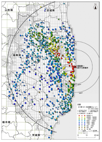 放射性ヨウ素129汚染地図(2013年7月1日)