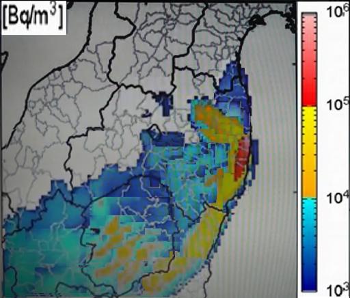 放射性ヨウ素汚染地図(福島県・北関東版)