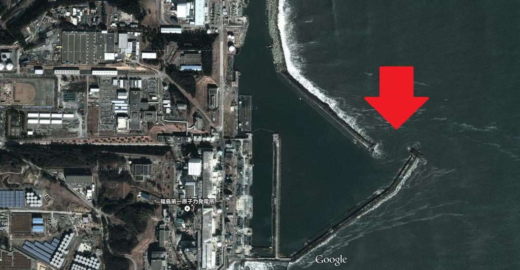 福島第一原発の港湾(上空写真)