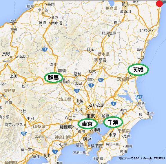 放射性ヨウ素131「大気浮遊じん」関東4県比較