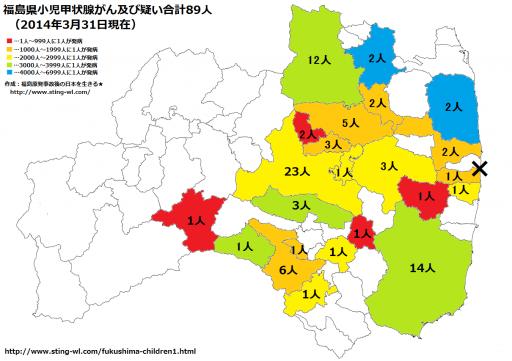 【2014年3月31日現在】最新の福島県小児甲状腺がん患者数市町村分類