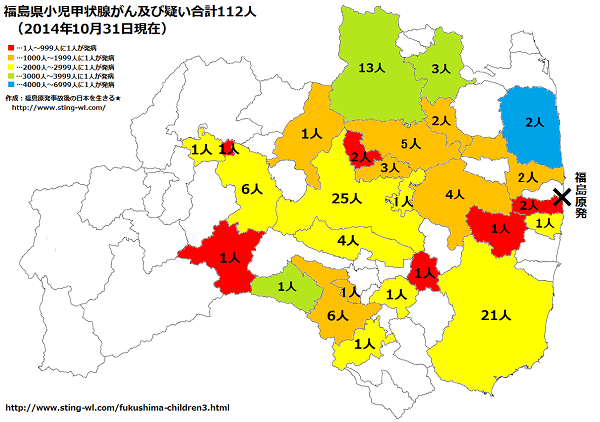 福島県小児甲状腺がん市町村分類2014年10月31日