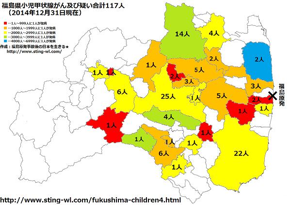 福島県子供の甲状腺がん市町村別2014年12月31日