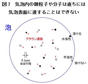 気泡内の微粒子や分子は直ちには気泡表面に達することはできない