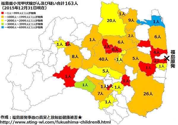 福島県子供の甲状腺がん市町村別2015年12月31日