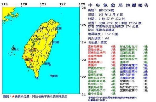 台湾高雄地震の震度の分布地図
