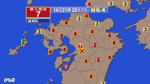 熊本地震(前震)はマグニチュード6.5、震源と震度分布地図