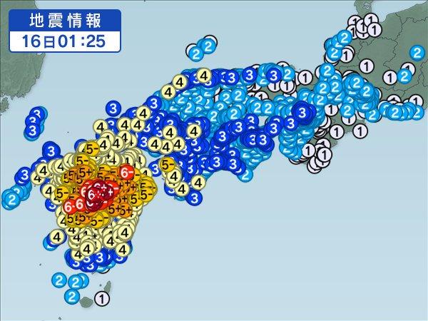 2016年4月16日1時25分の強い余震の震源と震度分布地図