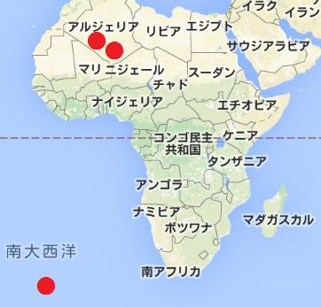 アフリカの核実験場所の地図