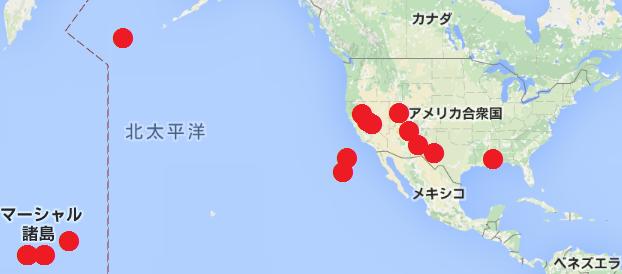 アメリカの核実験場所の地図