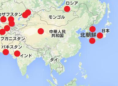 アジアの核実験場所の地図