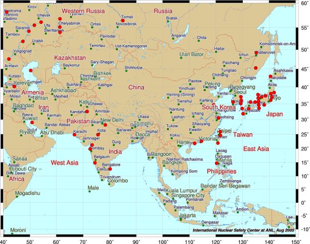 アジアの原発世界地図