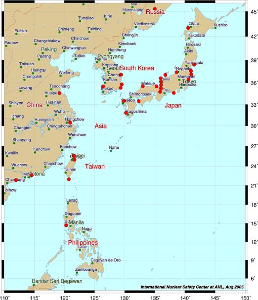 東アジアの原発世界地図