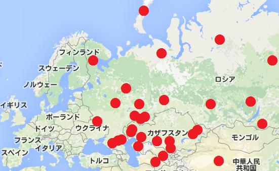 旧ソ連諸国(東ヨーロッパ)の核実験場所の地図