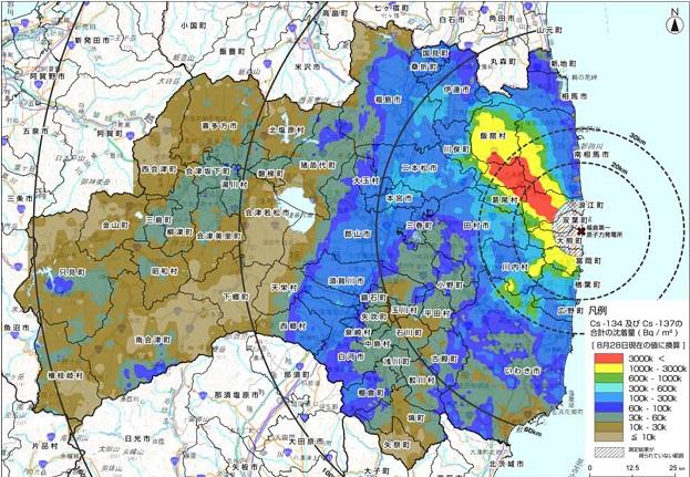2011年8月28日時点の福島県のセシウム汚染地図