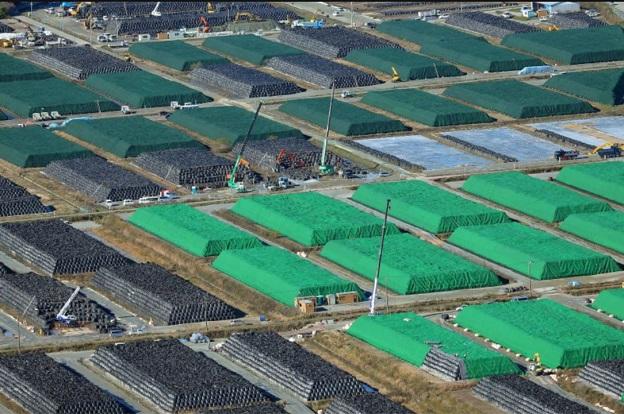 除染廃棄物の黒い袋(フレコンバッグ)の山