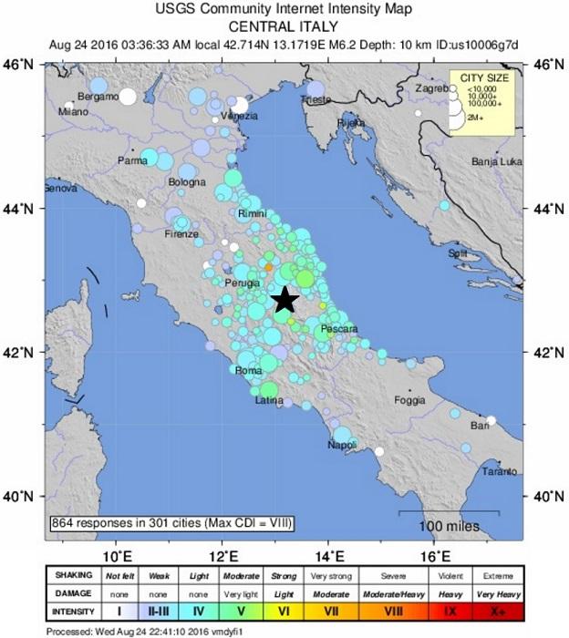 アメリカ地質調査所(USGS)によるイタリア中部地震の震源と震度の地図