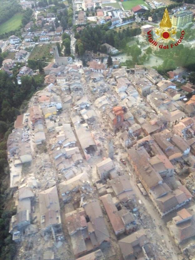イタリア中部アマトリーチェの空撮画像