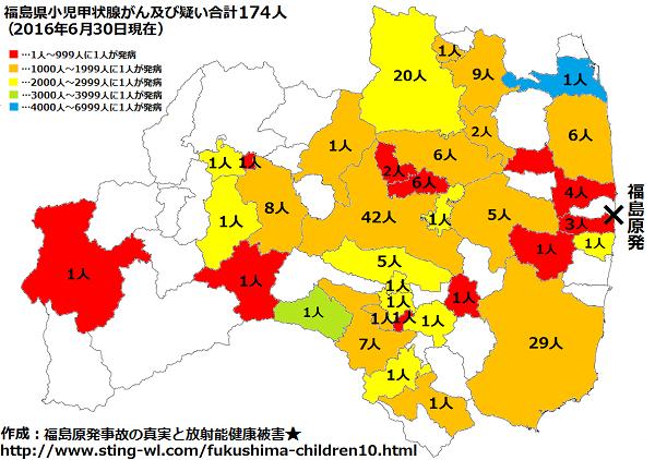 福島県子供の甲状腺がん市町村別地図2016年6月30日版
