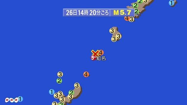 沖縄県や鹿児島県の震度分布地図
