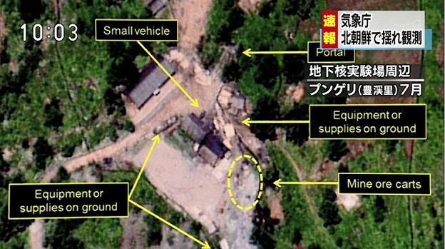 北朝鮮の核実験場である豊渓里(プンゲリ)の地図