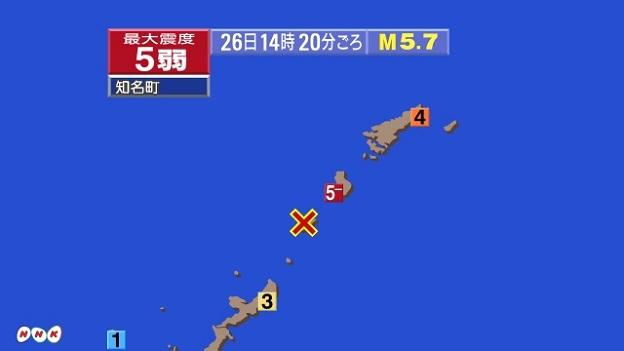 鹿児島県の奄美大島地方の震度分布地図