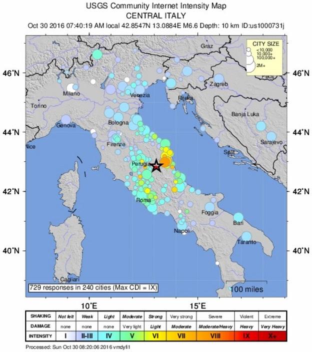 アメリカ地質調査所(USGS)による2016年10月30日のイタリア中部地震の震源と震度の地図