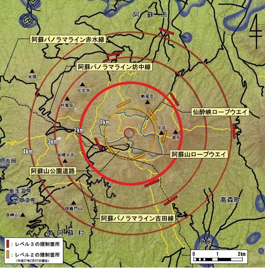 阿蘇山の火口から2キロの範囲の地図