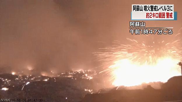 熊本県の阿蘇山が噴火の画像