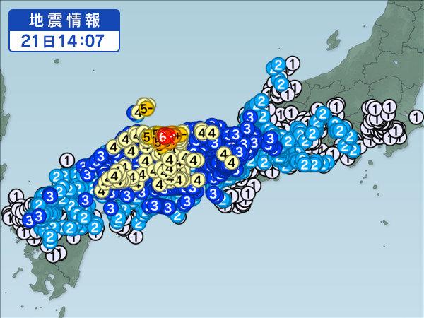 2016年鳥取県中部地震の震源と震度分布の西日本地図