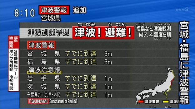 2016年11月22日の福島県沖地震での津波警報と予想される津波の高さ