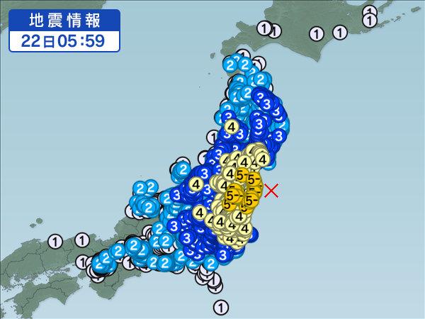 2016年福島県沖地震の震源と震度分布の東日本地図