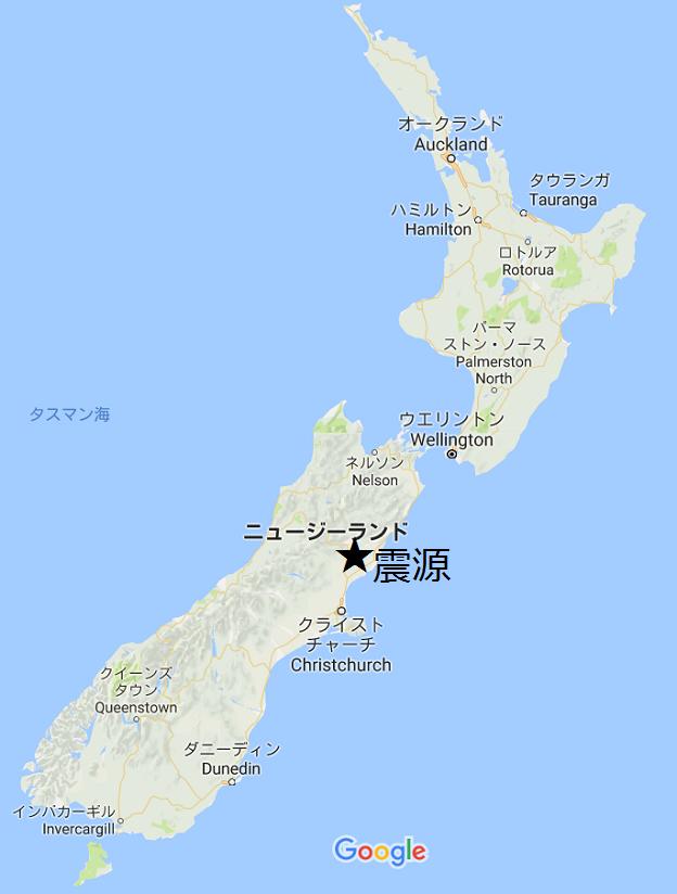 ニュージーランドの地図と地震の震源