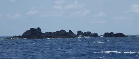 海上の船から見たベヨネース列岩