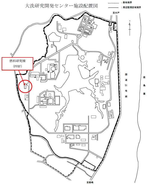 日本原子力研究開発機構の大洗研究開発センター内の施設配置地図と内部被ばく事故の現場となった燃料研究棟(PFRFの場所)