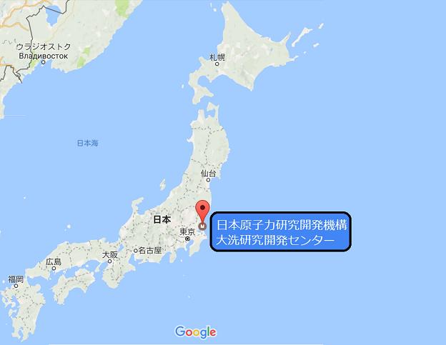 日本地図で見た場合の茨城県大洗町の場所
