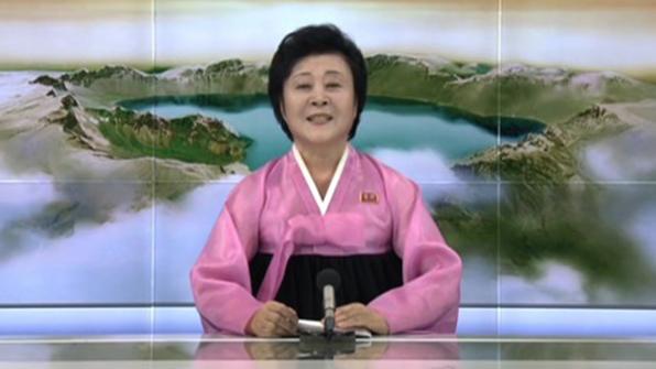 北朝鮮の国営放送である朝鮮中央テレビのアナウンサー