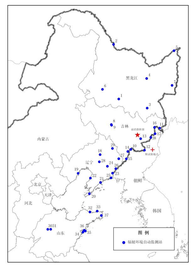 中国の地図と黒竜江省、吉林省、遼寧省、山東省に設置されている38あるモニタリングポストの場所