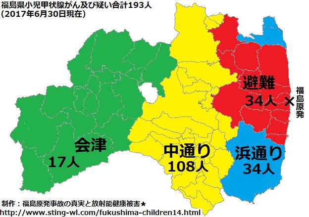 福島の甲状腺がんの193人の子供達を4地方別に分類