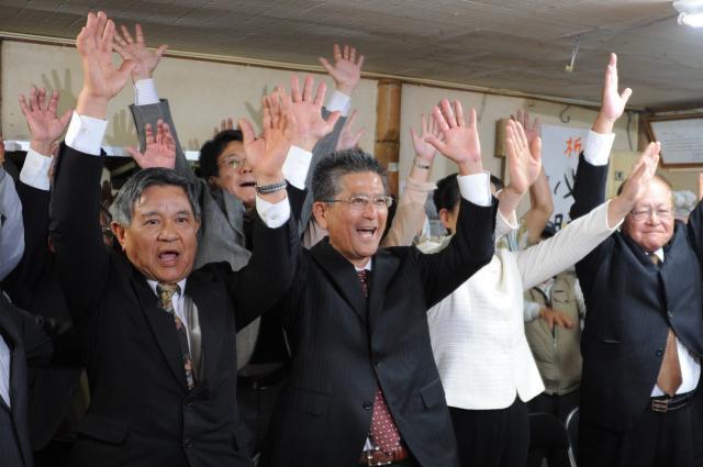 2018年南城市長選でオール沖縄の瑞慶覧長敏候補が当選