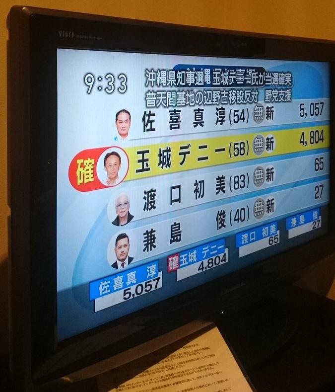 NHKが沖縄県知事選挙2018で玉城デニー候補が当選確実と報道