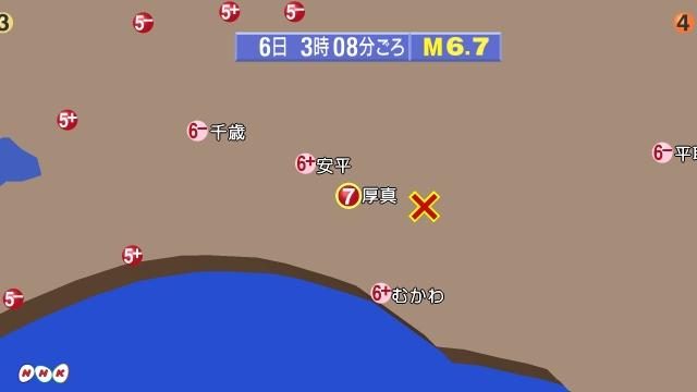 北海道のの震度分布地図