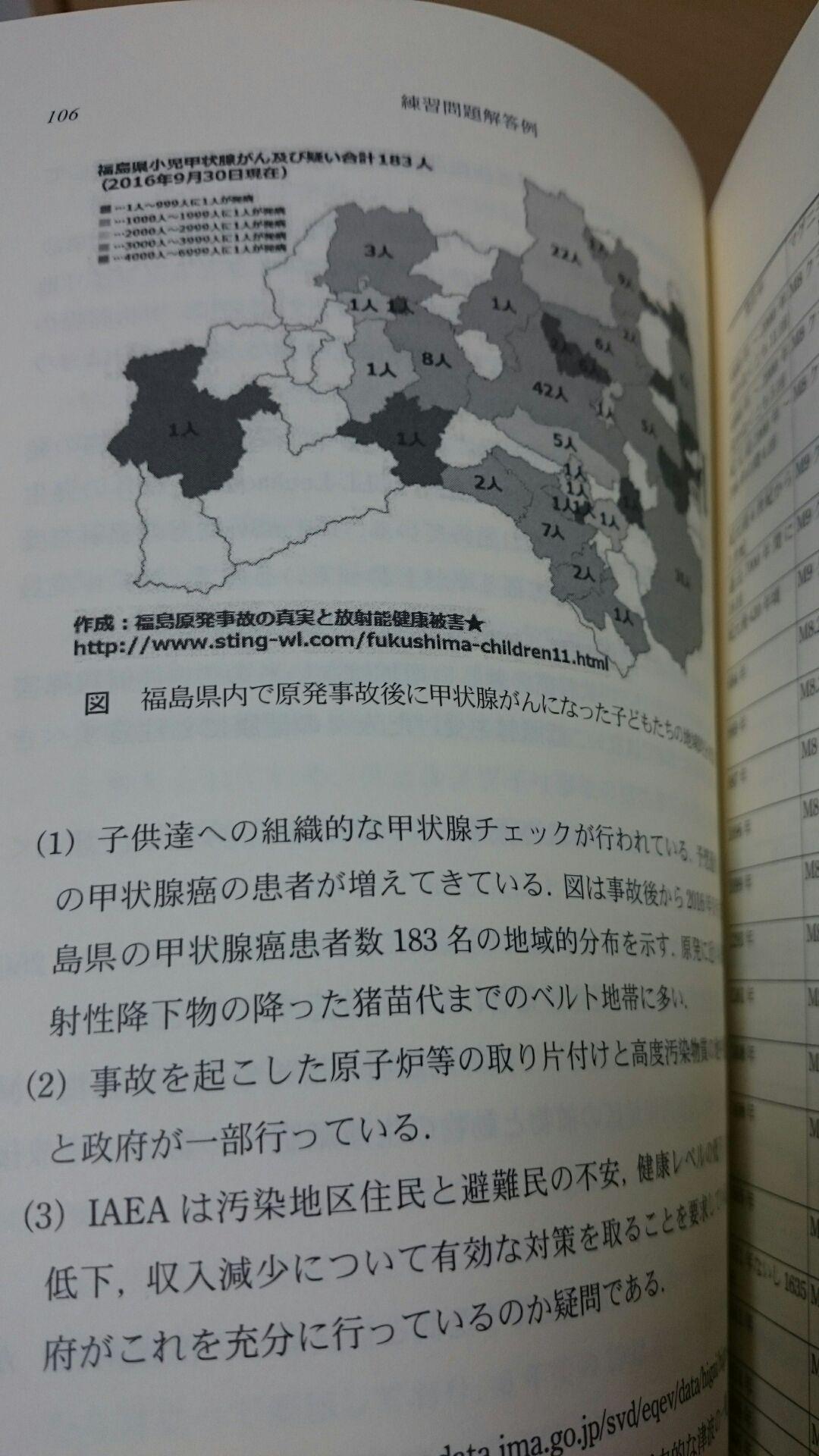梶谷剛『工学倫理・技術者倫理』に掲載の福島子供の甲状腺がん地図