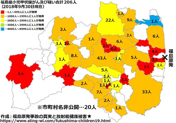 福島県子供の甲状腺がん市町村別地図2018年9月30日版